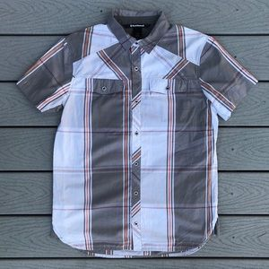 Black Diamond Button Up S/S L Plaid Gray Orange